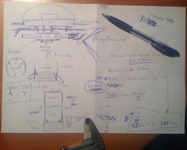 Flotte Skizze zum Adapter für Gimbal und Landegestell